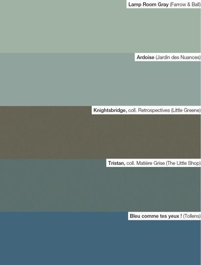 Notre palette : des teintes vert d'eau - Peinture : nos 65 couleurs préférées pour votre déco - CôtéMaison.fr