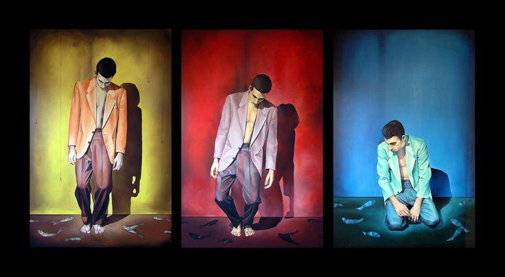 Freefall Triptych Oil on linen 190cm x 360cm #elias_kolivas #oilpainting #art