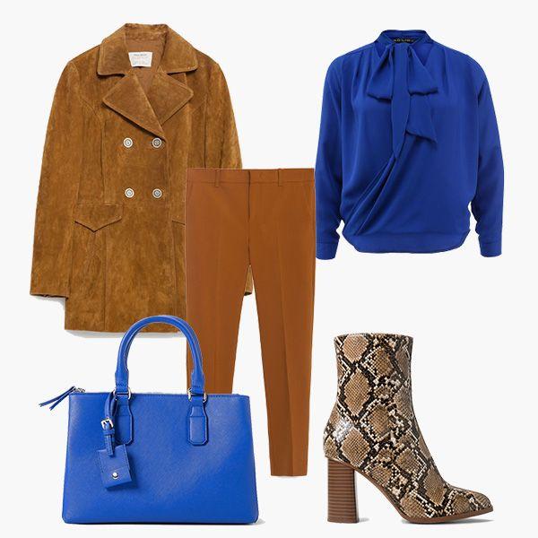 office outfit: офисный стиль, как одеться в офис, замшевый жакет, замшевая куртка, коричневые брюки, ботильоны на каблуке, змеиный принт, ботильоны со змеиным принтом, синяя сумка, блуза с бантом, синяя блузка, стиль 70-х