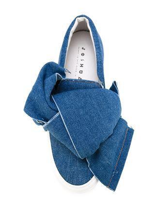 Denim Bow Slip-On Sneakers