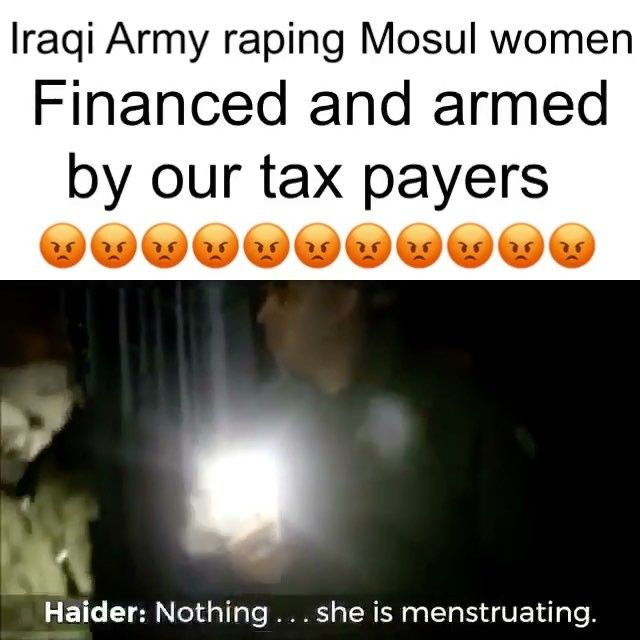 Media need to start exposing these atrocities funded and supported by our tax es.  In the name of fighting terrorism women are getting raped.  This is heartbreaking to hear this woman cry and she knows this Iraqi army has the support and backing of the whole world. There is nothing these women can do to stop this…