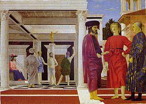 Flagelación de Cristo. Realizada por Piero della Francesca en el año 1460 y perteneciente al estilo quattrocento del renacimiento.   La característica más destacada de esta obra es el estudio de la perspectiva que realiza el autor.