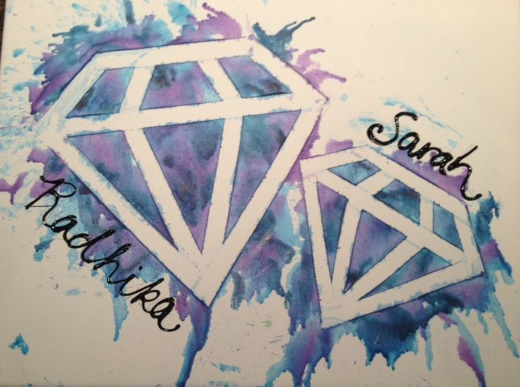 I'M OBSESSED WITH THIS. Big & Little Diamond Sistas canvas w/ melted crayon and puffy paint! #ADPi