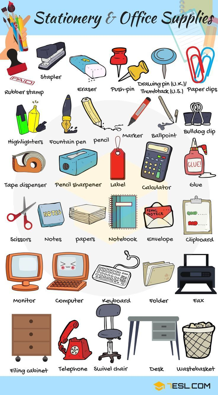 Office Supplies List Of Stationery Items With Pictures 7 E S L
