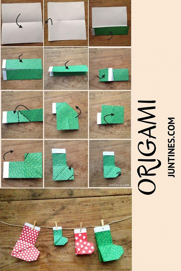 Origami for kids - Origami para Niños  Os enseñamos paso a paso cómo hacer la bota de Santa en papel, el resultado es precioso. Papiroflexia para niños, manualidades de papel, ideas para disfrutar al máximo del tiempo con tus niños en Juntines.com
