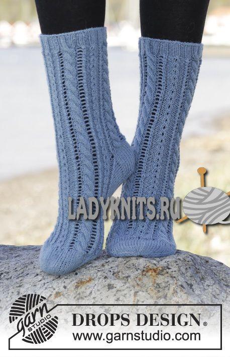 """Вязаные спицами женские носки """"Небесно голубые"""" от Дропс"""