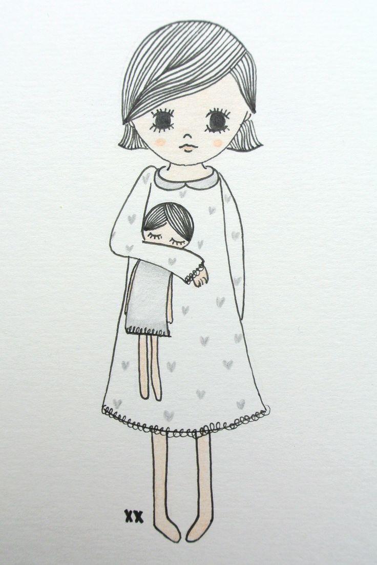 illustration girls room   illustratie meisjeskamer www.kinderkamervintage.nl