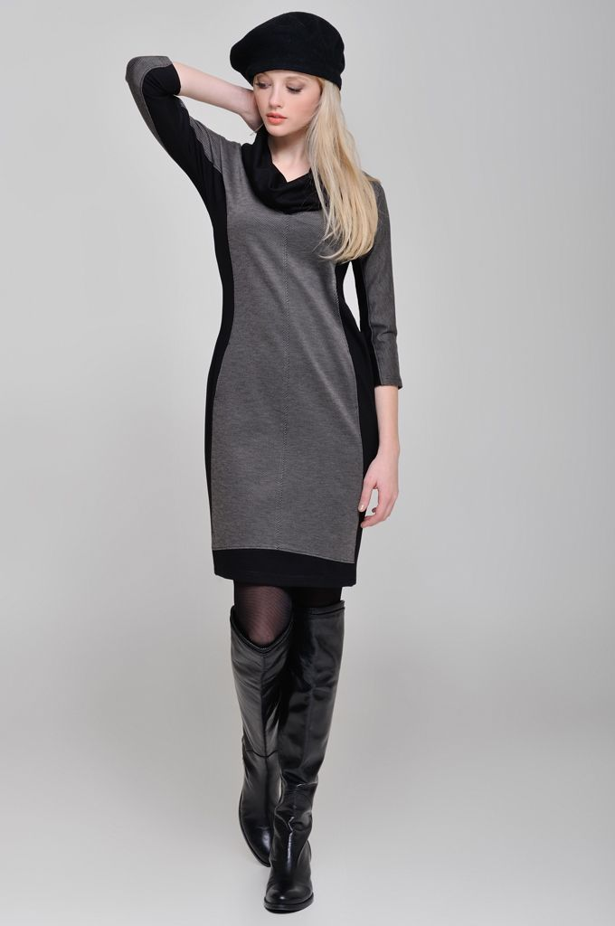 3/4 sleeve jersey cowl-neck dress in combination of two fabrics