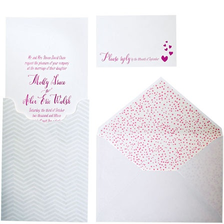Letterpress and foil-stamped suite, $2,770 for 100 sets (includes invitations, sleeves, offset lined envelopes with printed return addresses, reply cards, and reply envelopes), Smock; smockpaper.com