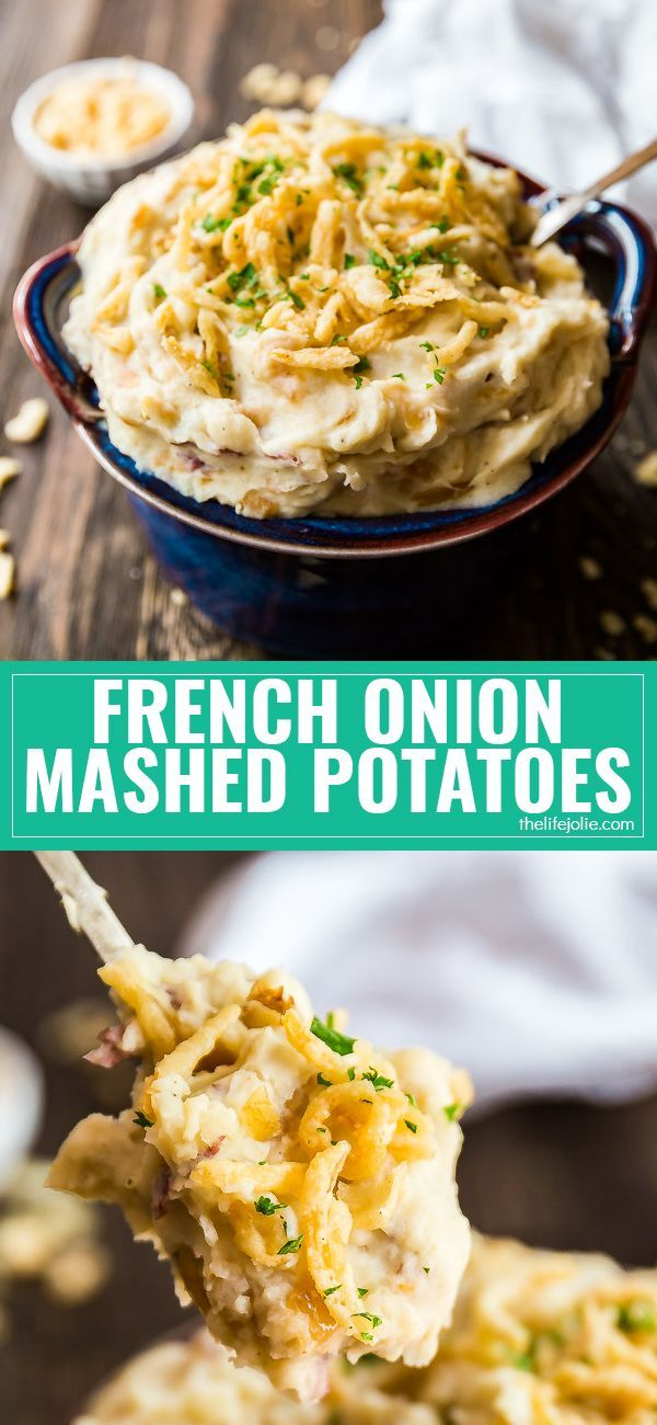 If you love classic Mashed Potatoes, you've got to try this easy French Onion Creamy Mashed Potatoes recipe- all the homemade, creamy goodness you love with a savory, umami punch from caramelized onions! This is the best simple way to kick your Thanksgiving (or any regular dinner side dish) up a notch! via @thelifejolie