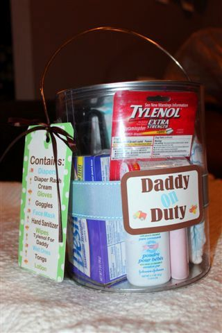 Baby Shower Gift Idea. Daddy On Duty Survival kit - boyfriends got 3 brothers having babies, 2 of them be new!