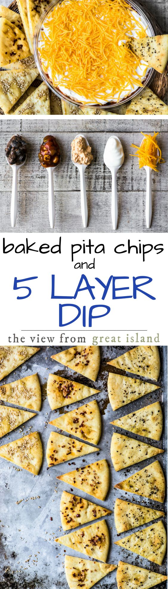 Baked Pita Chips with Black Bean, Corn, & Chorizo 5 Layer Dip ~ A great dip deserves a great chip, and today I'm baking up my homemade pita chips in 5 flavors in honor of Rojo's newest layered dip ~ let's dig in! | appetizers | Layered Dip | Mexican |