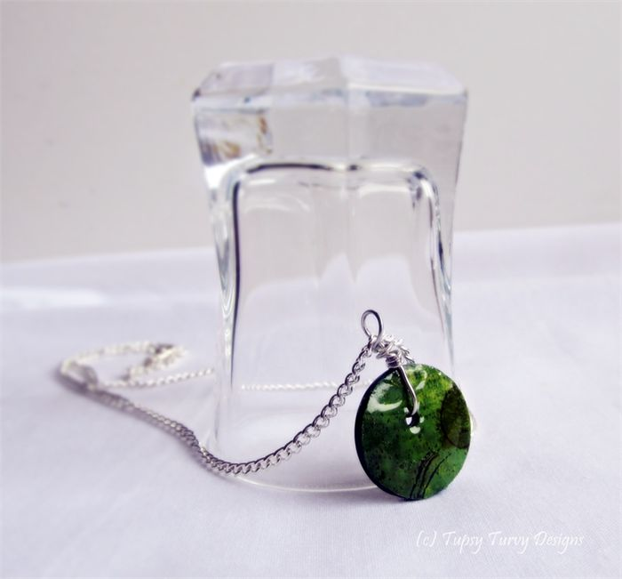 Grassy green hue original art button pendant with silver plated chain.