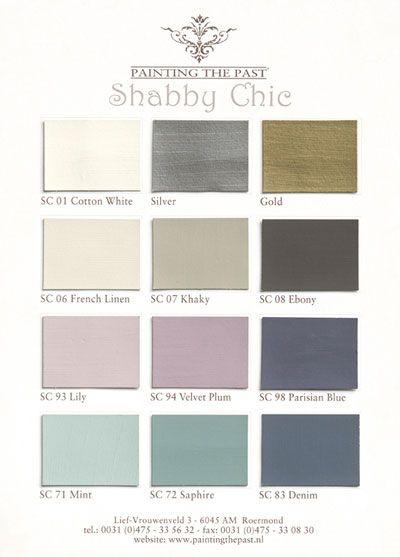 Kleurenkaart Painting the Past Shabby Chic collectie.De kleurenkaarten van Painting the Past zijn handgeschilderd. Zodoende kunt u op basis van de.
