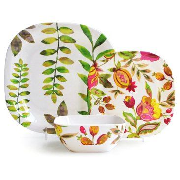 Check out this item at One Kings Lane! 12-Pc Melamine Honeydew Dinnerware Set