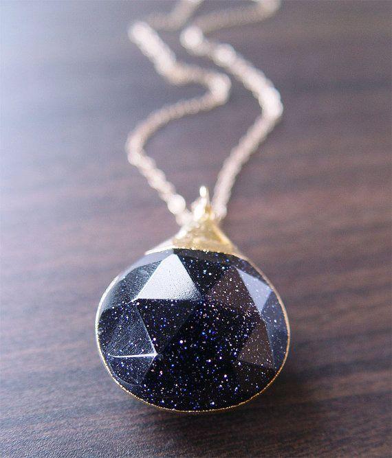 Midnight Sunstone Gold Necklace: Gold Pendant, Sunston Gold, Gemstone Jewelry, Midnight Sunston, Stars Necklaces, Gold Necklaces, Night Sky, Christmas Stars, Midnight Blue