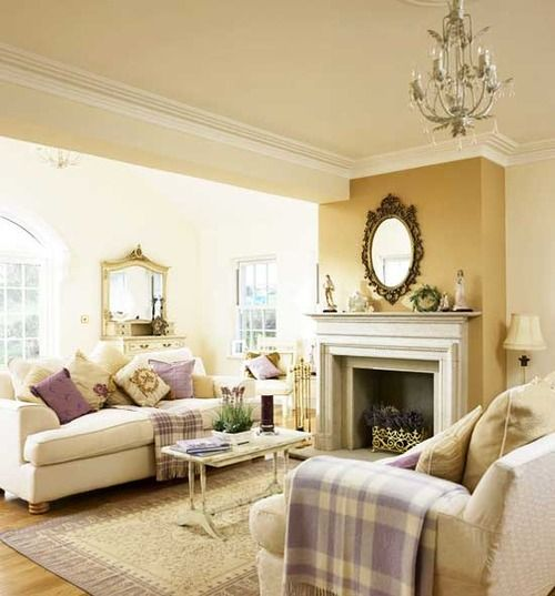 Very Pretty Living Room Neutrals Lavender Mauve Accents Fireplace