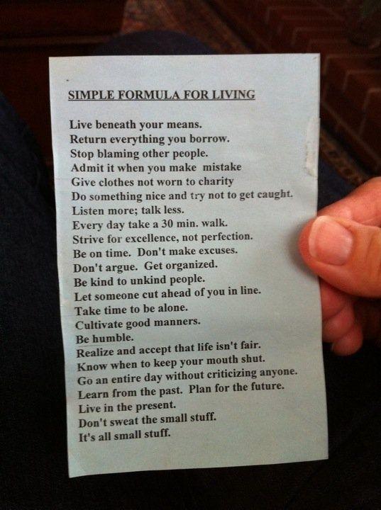 Simple Formula For Living (Quaker Newsletter)