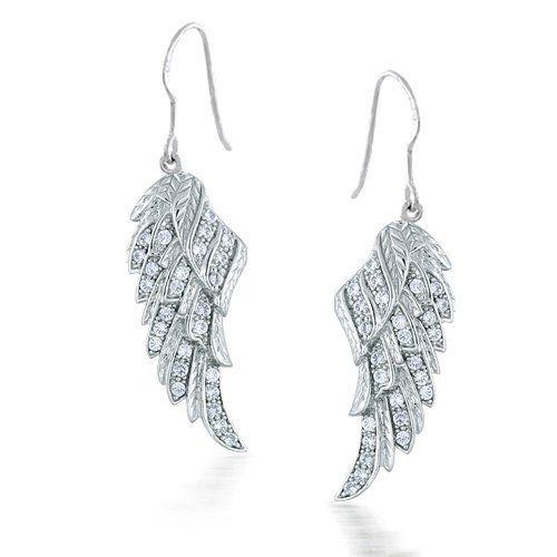 Bling Jewelry Angel Wings CZ Sterling Silver Dangle French Wire Earrings MCYdaRS