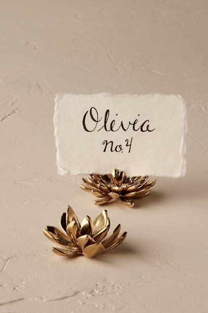 Round Succulent Card Holder | BHLDN -- As place card holders or photo displays, these brassy succulents set a fresh and contemporary vibe to your tables