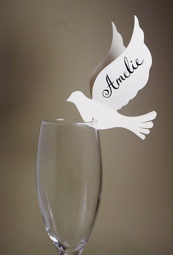 20 Place Cards, Doves, Love Birds Themed Wedding, Decor for Wine Glass, Original…