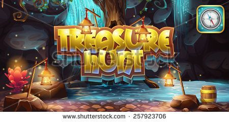 Horizontal banner, icon to the computer game treasure hunt