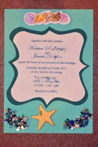 DIY invitations for a beach wedding. Use the Cricut Craftroom, 3D elements, & a blue ombre palette. Also included is a burlap wrap used to hold RSVP cards, etc. together. - tutorial