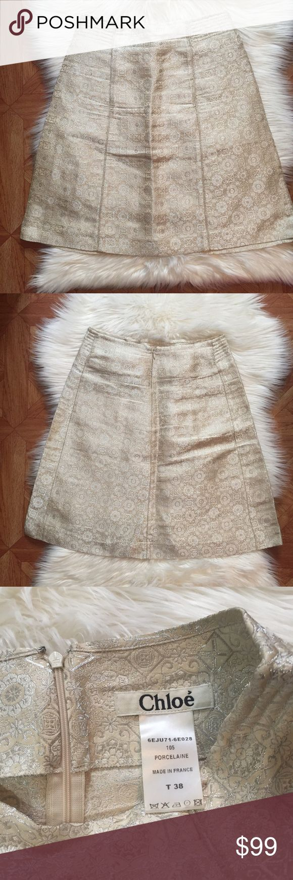 Chloé A-Line metallic skirt A-line porcelain skirt with metallic detail• in excellent condition • size 38 which translates to 6 US Chloe Skirts A-Line or Full