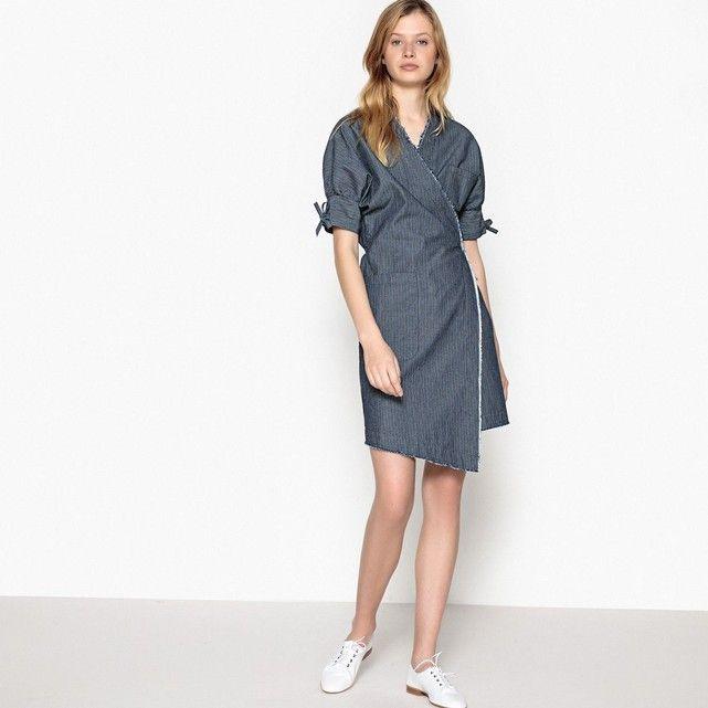 Sukienka kopertowa z denimu w paski wycierany paski La Redoute Collections | La Redoute