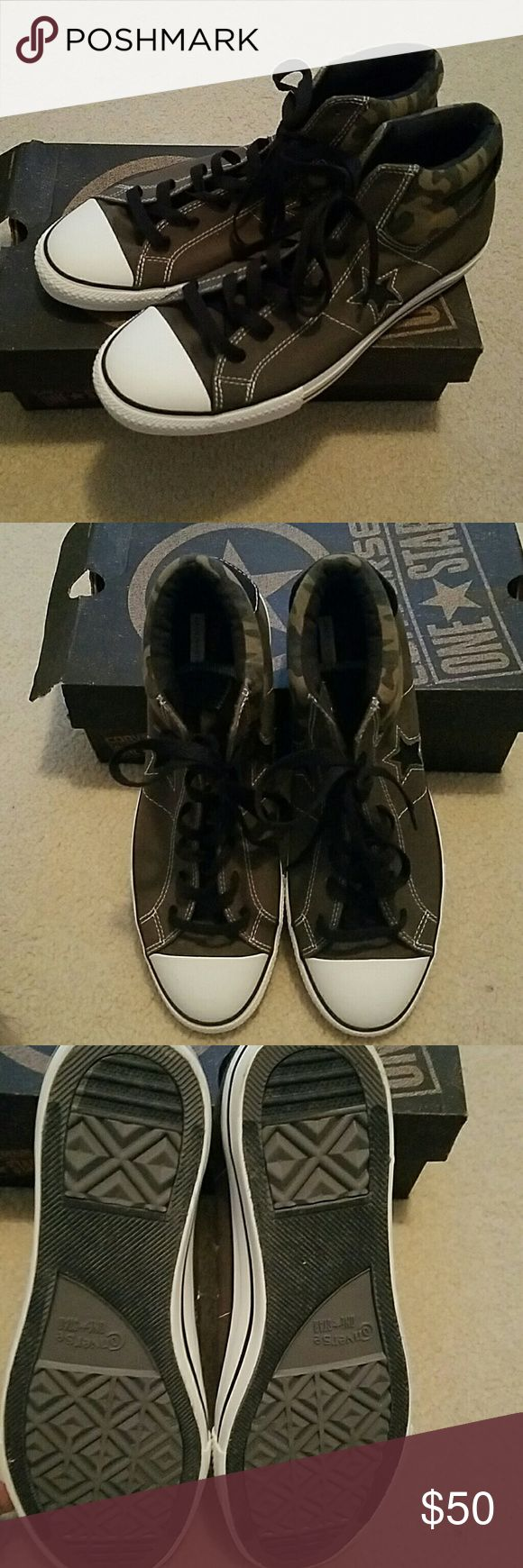 Men's Converse All Stars NWB Army green and camo converse chucks. Never worn Converse Shoes Sneakers