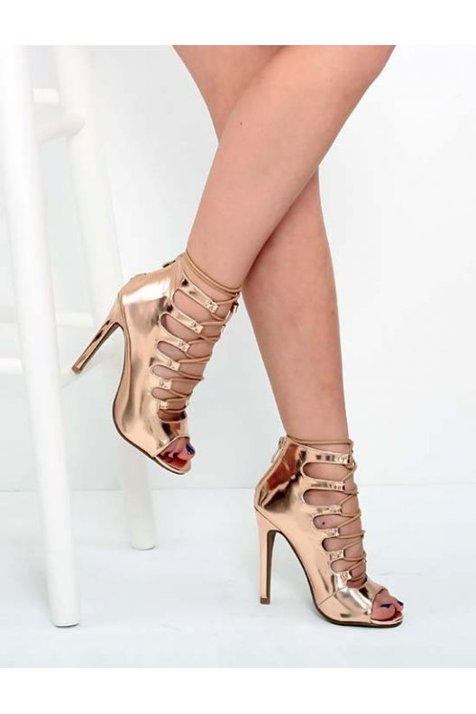 Laila - heeled sandals rose gold chrome