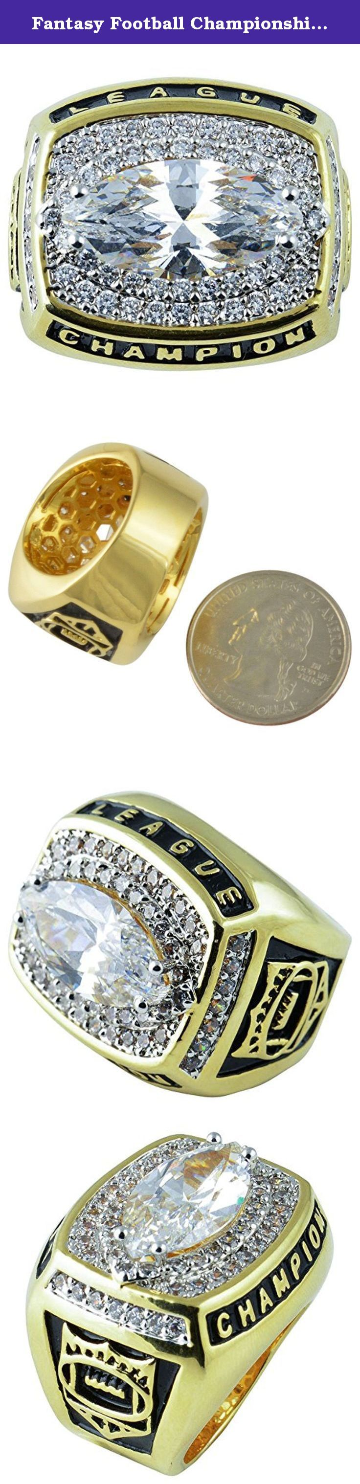 "Fantasy Football Championship Trophy Ring Gold Plate & CZ Size 12. Measurements are 1"" from the widest points."