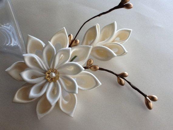 Ivory Hair Clip - Ivory and Gold Kanzashi Flower Hair Accessories Wedding Flowers Bridal Kanzashi