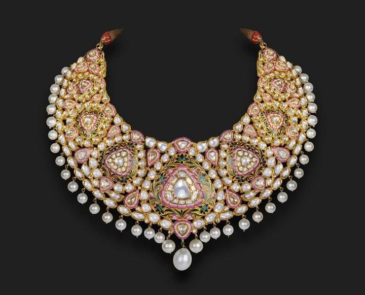Meenakari necklace with kundan and pearls