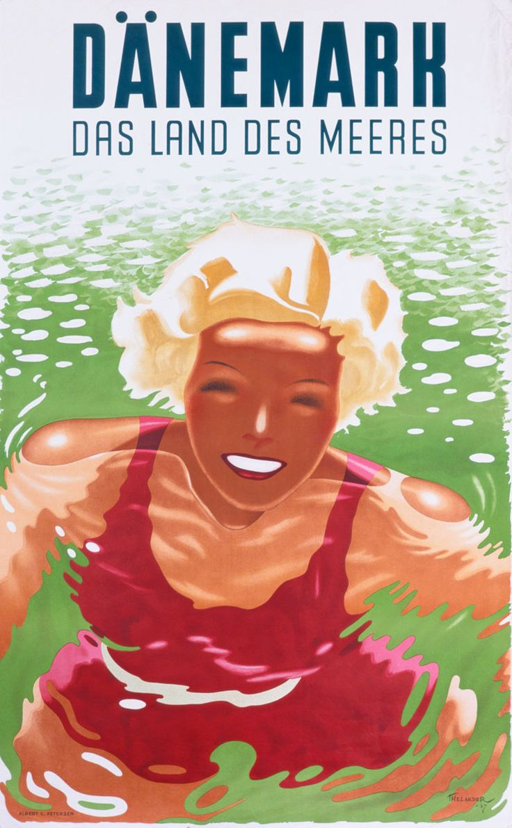 """Dinamarca. ¿Os suena? Podría ser un anuncio de Atlantic City o de Australia (de hecho el parecido de la modelo es muy evidente) salvo que el destino en cuestión es Dinamarca... y en Dinamarca, por más frío que se pase, se estilaba también el prototipo de rubia que disfruta del segundo elemento del binomio de oro: la playa, """"Las tierras de los mares"""", reza este cartel de 1937."""
