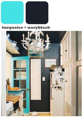 Blue windowed doorThe Doors, Black Walls, Blue Doors, Colors, Black Kitchens, Turquoise Doors, Turquoise Kitchen, Dark Wall