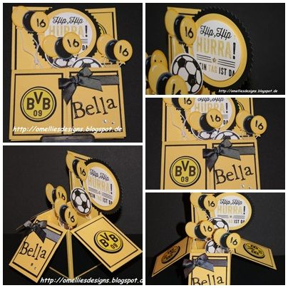 Stampin UP , Pop Up Box Card , Daffodil Delight, Black, Football , Fussball, BVB Dortmund, Great Sport , Box Card , Card in a Box