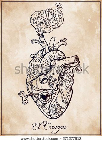 stock-vector-mechanical-metal-human-heart-el-corazon-steam-punk-style-hand-drawn-line-art-vintage-victorian-271277912.jpg (338×470)