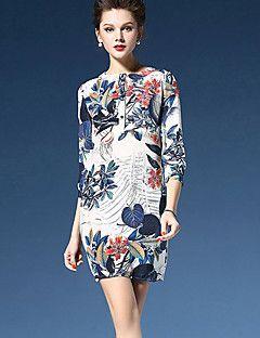 De las mujeres Línea A Vestido Chic de Calle Floral Sobre la rodilla Escote Redondo Seda