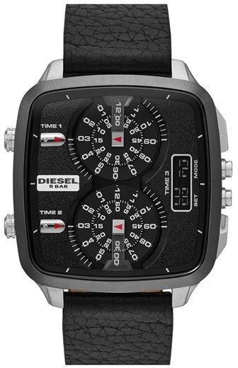 Diesel 'SBA' Dual Movement Square Leather Strap Watch, 45mm on shopstyle.com