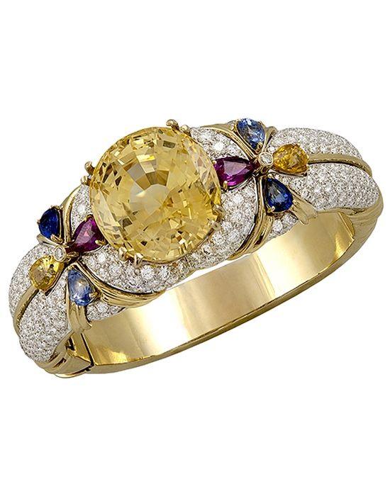 18kt. Gold Ruby,Diamond & Natural Yellow Sapphire Bangle - Yafa Jewelry (=)