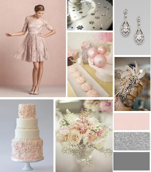 Blush Pink , Silver and Grey Winter Wedding Palette