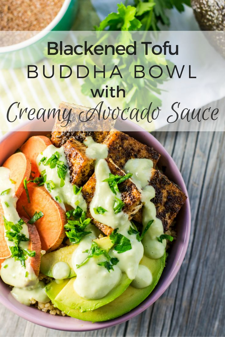 This Blackened Tofu Buddha Bowl with Creamy Avocado Sauce is a hearty and delicious way to get your body back on track after travel! Tofu seasoned with chili powder, garlic, and spices is paired with fluffy quinoa, sweet potato, and avocado to deliver all the right flavors and nutrients!