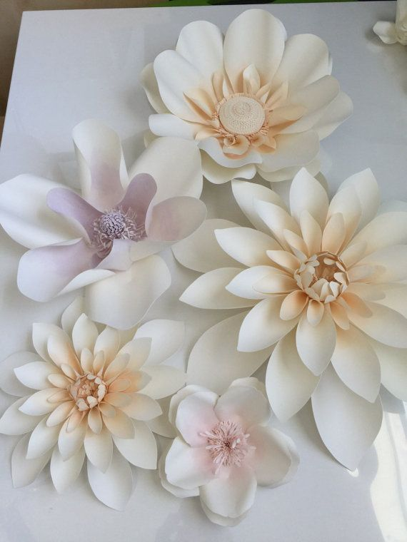 Large watercolor paper flowers set of 12 by LovePaperBlooms