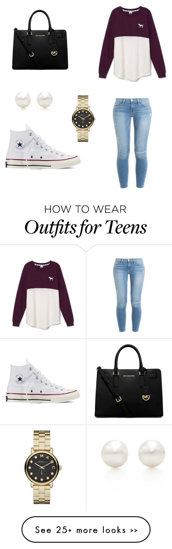 """Outfit for teens"" by garzapaola on Polyvore featuring Victoria's Secret, Frame Denim, Converse, MICHAEL Michael Kors, Marc by Marc Jacobs and Tiffany & Co."