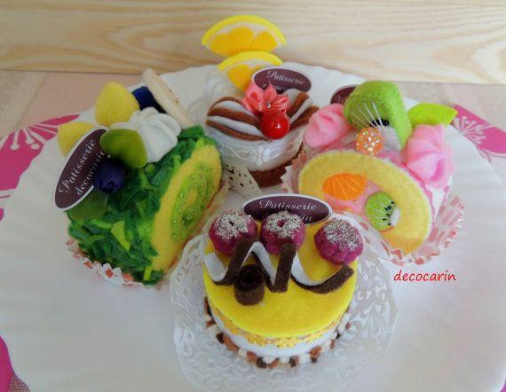 Set 4 Felt Cake Felt Food Ready Birthday Party Gift by decocarin