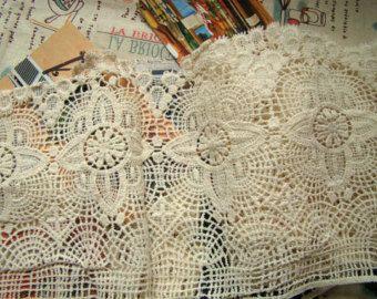 ajuste del cordón crudo, tela del cordón de algodón, encaje antiguo, encaje vintage, retro festoneado trim, retro floral cordón