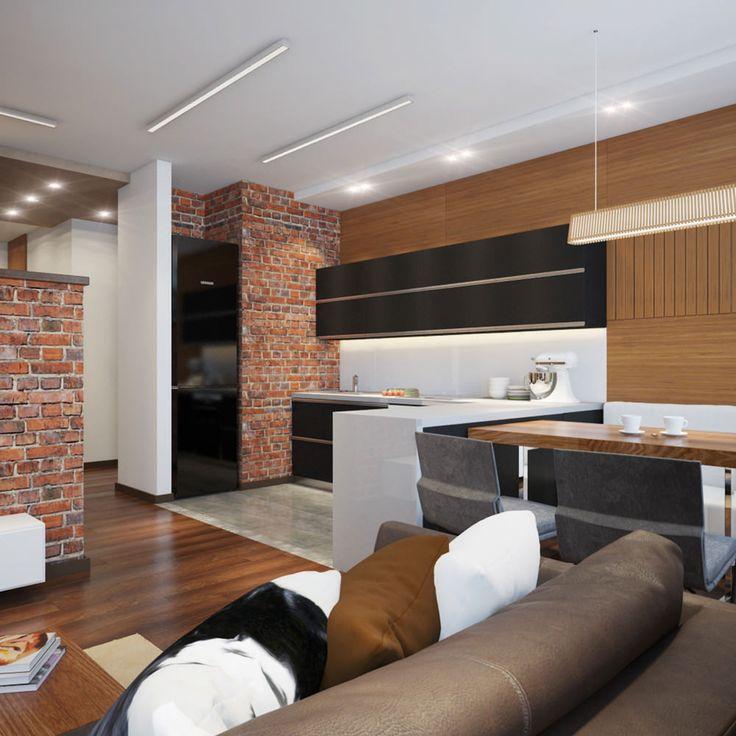 Проект интерьера студии с элементами лофта