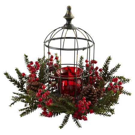 A lovely addition to your tablescape, this rustic candleholder showcases a birdcage-inspired enclosure with faux red berry and pinecone accents....