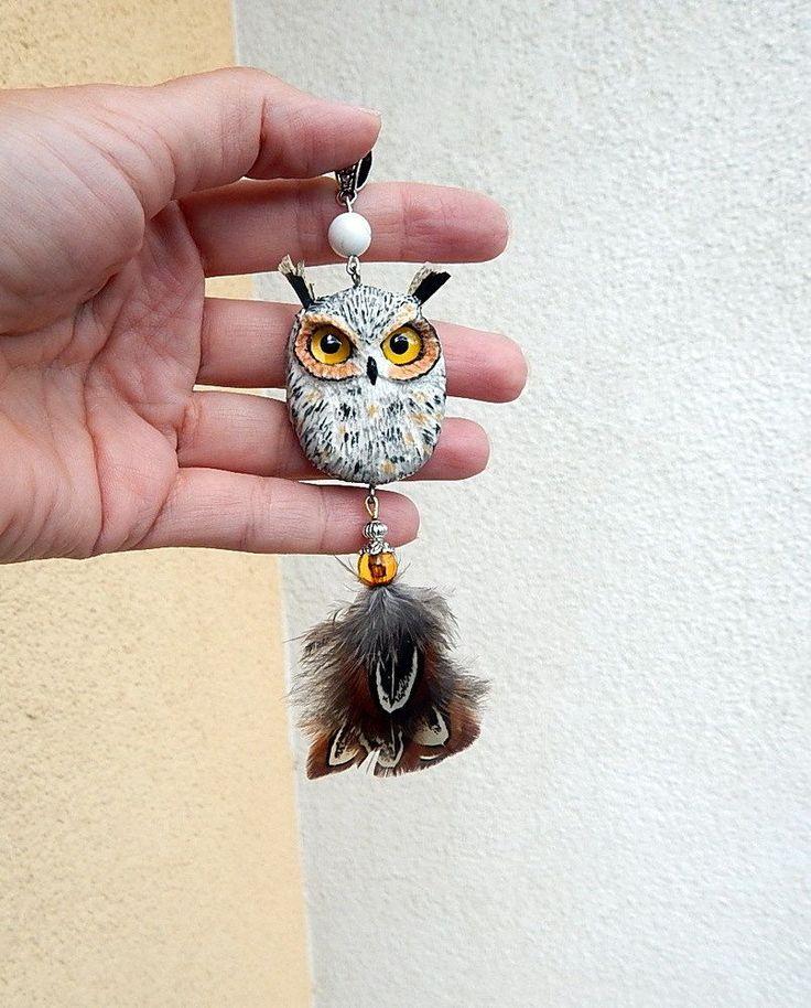 Polymer clay eagle owl pendant